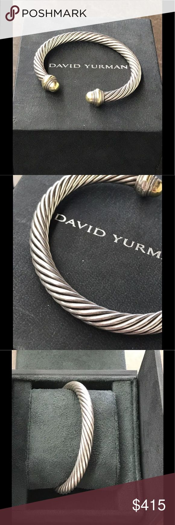 David Yurman Cable Bracelet 14K Gold Domes David Yurman 925 Cable Classics Bracelet with 14k Gold domes. This Bracelet is in great condition. The sterling silver doesn't have any deep gouges or scratches. The gold domes, which frequently are dented when pre-owne, are pristine. Bracelet is size medium- fits 75% of women. David Yurman Jewelry Bracelets