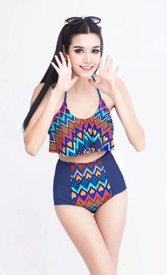 Blue Aztec Crop Top and High Waisted Waist Shorts Bottom Swimsuit Swimwear Bikini Bathing suit Woman Lady Adult Female Teens Girl Girls S M