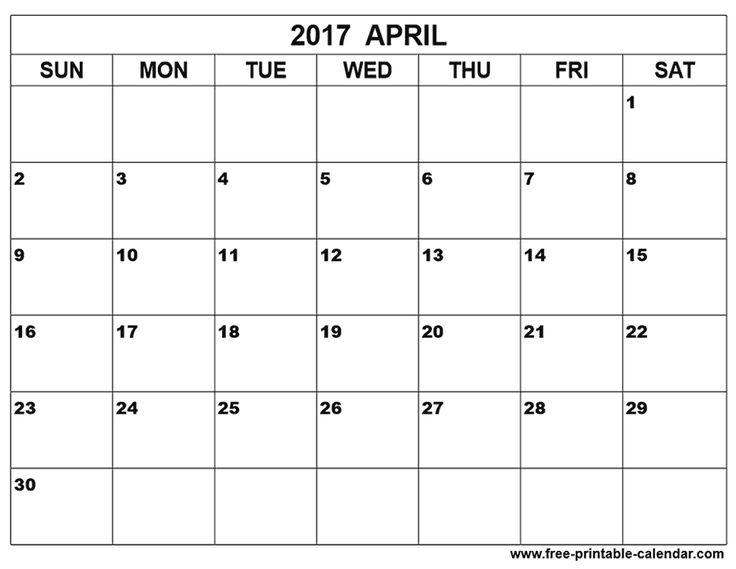 Calendar Large Boxes : April calendar printable free
