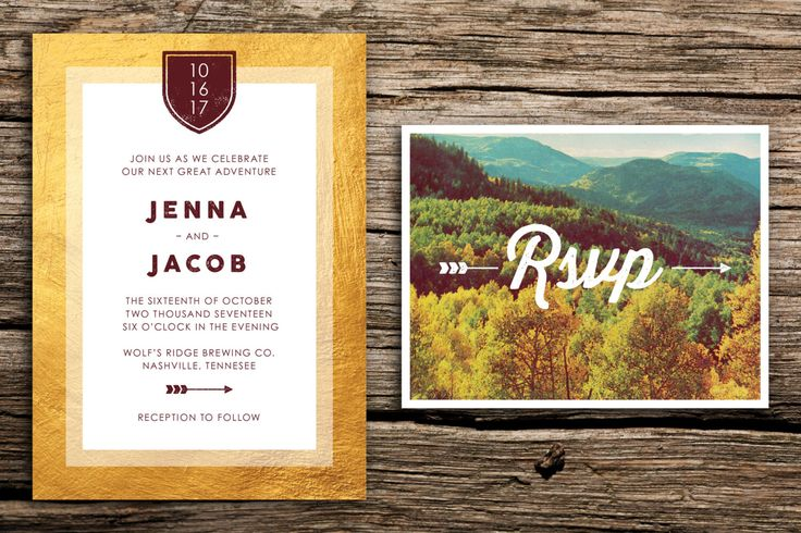 Autumn Mountains Wedding Invitation & Vintage RSVP // Tennessee Wedding Mountain Wedding Fall Wedding Mountain Crest Autumn Gold Rustic by factorymade on Etsy https://www.etsy.com/listing/463444013/autumn-mountains-wedding-invitation