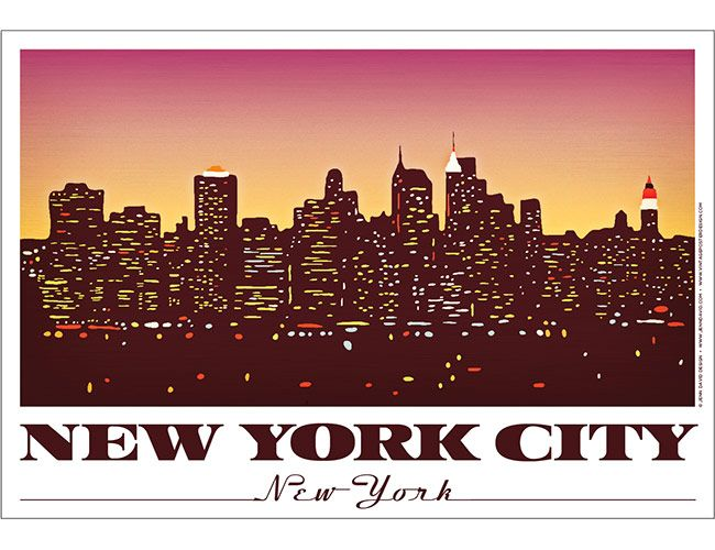i like this because it shows the new york skyline with a pink yellow sky. it makes the sky line stand out