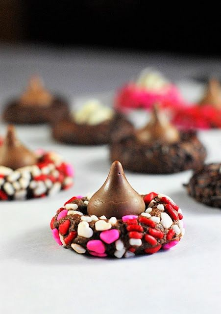Chocolate Valentine Kiss Cookies Image ~ a chocolate, sprinkle-adorned Valentine version of classic peanut butter blossom cookies.  So pretty, and oh so delicious.