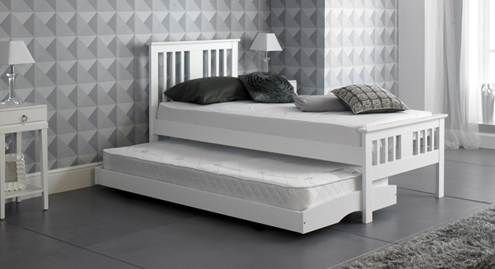 White Gloss 3ft Single Pull Out Guest Bed Artisan