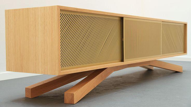 Jalousie / Hekla / TV cabinet / furniture design / wood / aluminium