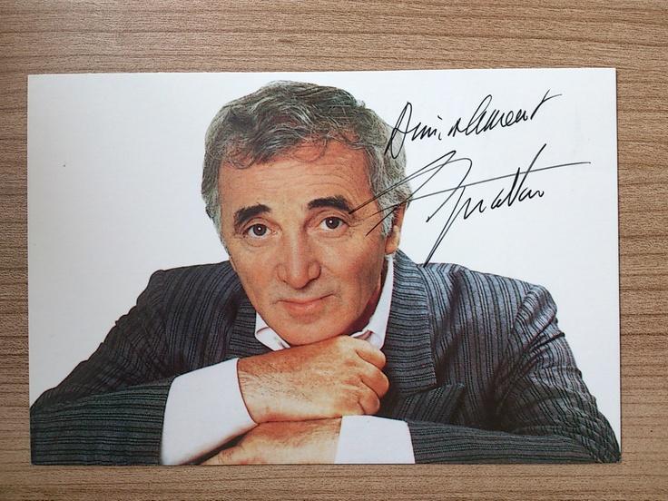 Charles Aznavour Original Signed Postcard Armenian Singer Songwriter Actor