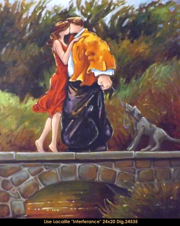 Lise Lacaille original oil painting on canvas #liselacaille #art #artist #canadianartist #quebecartist #fineart #figurativeart #originalpainting #oilpainting #CanadianArt #couple #kissing #park #multiartltee #balcondart