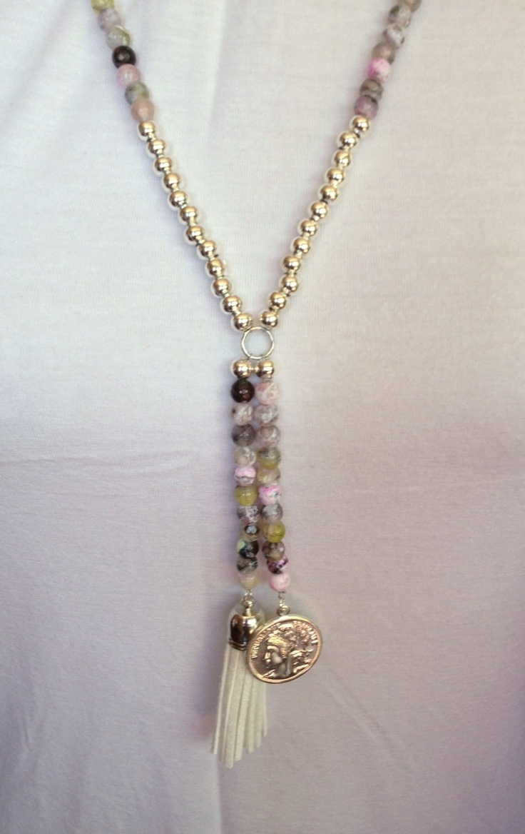 $50.00 Coloured faceted jade necklace with faux suede tassel and French coin pendants