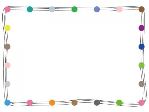 カラフルな丸の手書き線フレーム飾り枠イラスト02 My Biz 枠