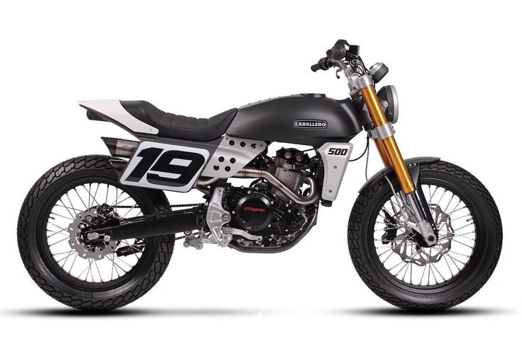 "Factory Street Tracker: Fantic Caballero 500 which debuted at @eicma in Milan. Rolling on 19""-19"" wheels. There's also a 17""-19"" dual-sport edition. Details to come! Found via @sideburnmag. :: #fantic #fanticmotor #caballero500 #tracker #streettracker #dualsport"