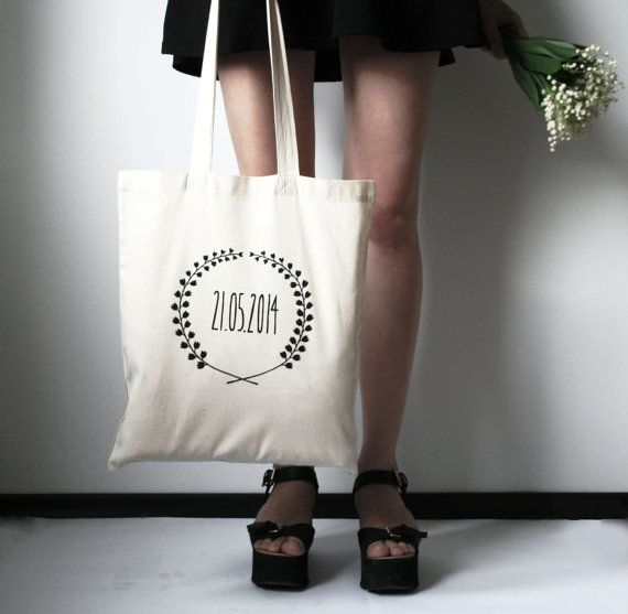 CUSTOM DATE wedding souvenir hand screenprinted cotton shopping bag hand screen printed cotton bag personalized tote bag
