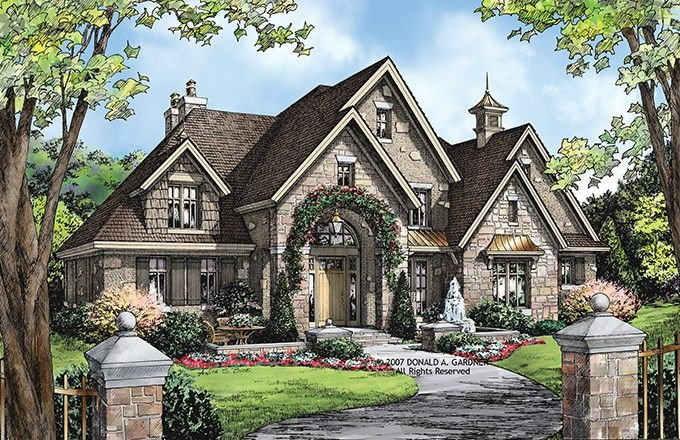 European House Plan with 3484 Square Feet and 4 Bedrooms from Dream Home Source | House Plan Code DHSW075860