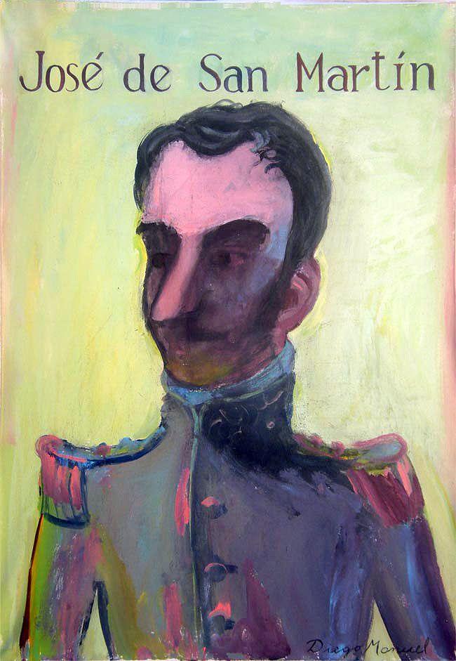 Jose de San Martin, acrylic on canvas, 64 x 45 cm. 2013. Cuadro en venta de la…