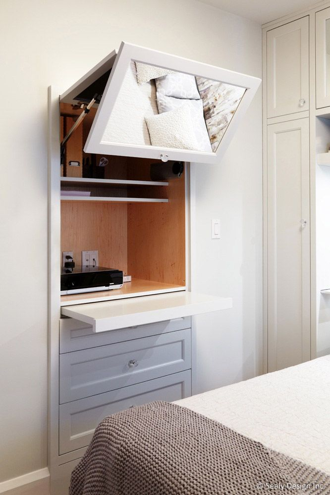 Use the half of the closet to make an in wall desk/drawers/tv stand...really unusual, and makes use of a small space