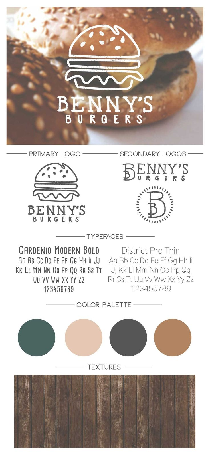 Benny's Burgers. Branding identity for a burger shop. Going for a casual, laid-back feel but still contemporary and put together.