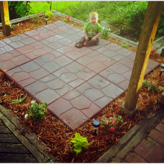 Patio In Abandoned Flower Bed. $1.98 Pavers From Menards, Paver Sand,  Flowers And  Menards Patio Pavers