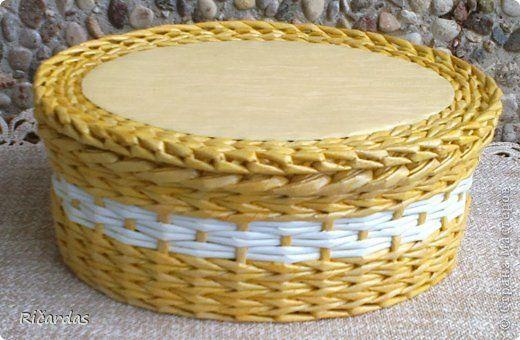 Поделка изделие Плетение Шкатулки  Бумага газетная Трубочки бумажные фото 12
