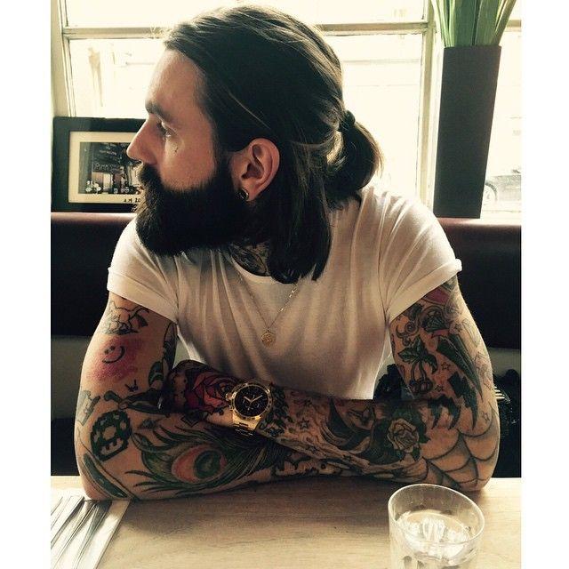 Ricki Hall - full thick beard beards bearded man men mens' style tattoos tattooed long hair ponytail