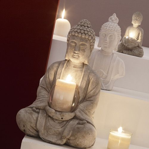 SERENITE cement Buddha candle holder in grey H 19cm