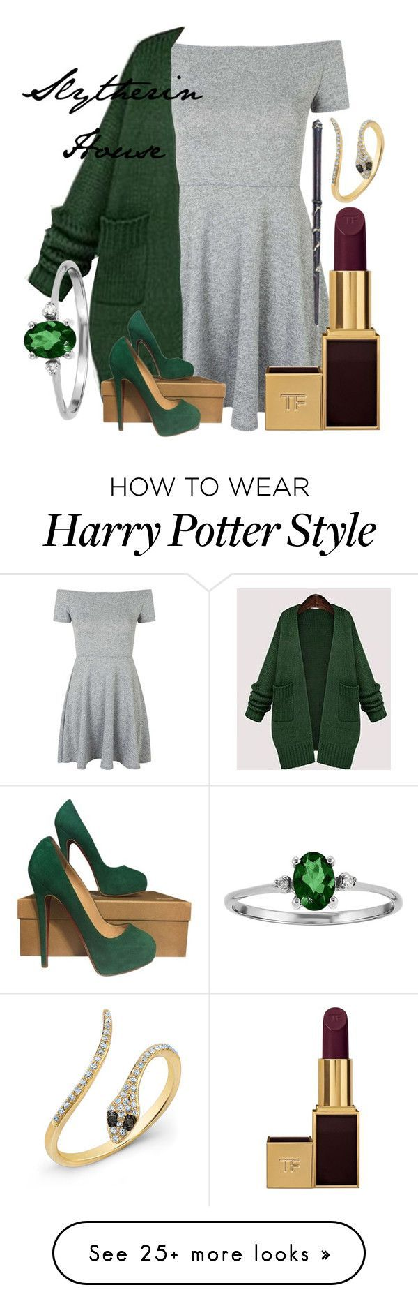 Slytherin House by emilylaura27 on Polyvore featuring moda, Topshop, Jiuni, Christian Louboutin, Tom Ford, womens clothing, women, female, woman y misses