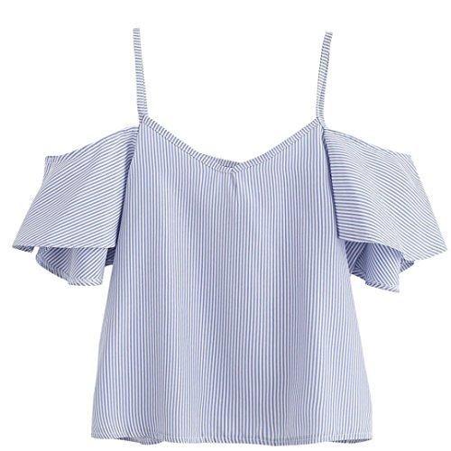 Oferta: 1.63€. Comprar Ofertas de Goodsatar Mujer Verano Casual Rayado Nylon Blusa Parte superior del hombro frío (5XL, Azul) barato. ¡Mira las ofertas!