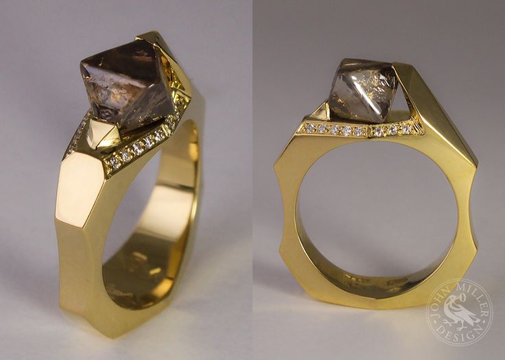Uncut Treasure . A stunning 18ct gold ring featuring a 3 carat rough Argyle diamond surrounded by 14 small diamonds. Made by Marcus Cameron from John Miller Design Margaret River Gallery Collective