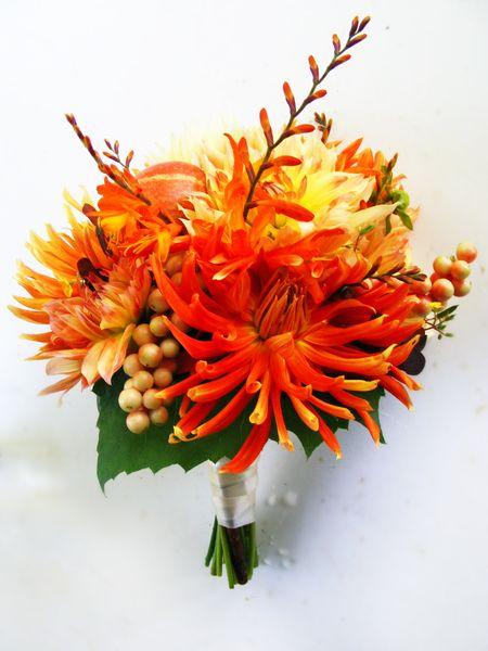 orange natural wedding bouquet