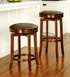 Solid Wood Backless Swivel Bar and Counter Stools Plow Hearth