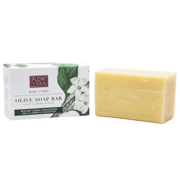 FLORIVERA OLIVE SOAP Made up of pure essential oils and amazonian butters, versus drying detergents. Our gentle soap bar leaves skin feeling nourished and moisturized rather than dry and tight. Made in Canada. 70g  Florivera.com All natural ingredients and organic Amazonian butters. Antioxidant extracts helps on nourishing and moisturizing the skin. Safe on even the most gentle areas. Smoothing and refreshing.