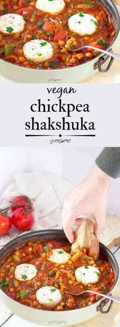 My smoky, spicy vegan chickpea shakshuka is ready in 30 mins, perfect for brunch or supper, and is chock-full of vitamins, protein, and fibre. | http://yumsome.com (Gluten Free Recipes Healthy)