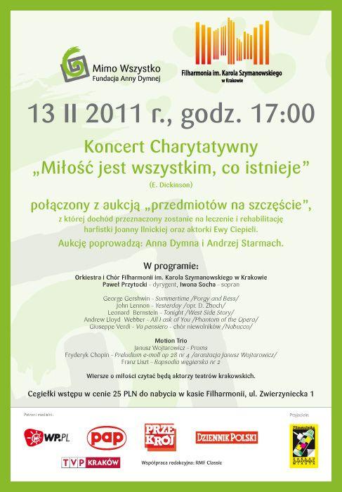 """Koncert charytatywny """"Miłość jest wszystkim, co istnieje"""" / 2011"""