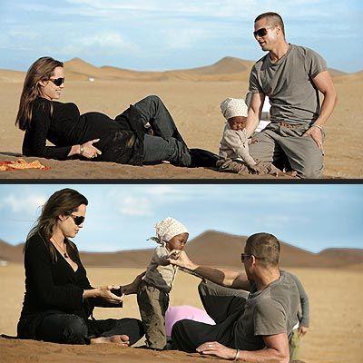 Pregnant Angie, daughter Zahara & Brad in Namibia in 2006