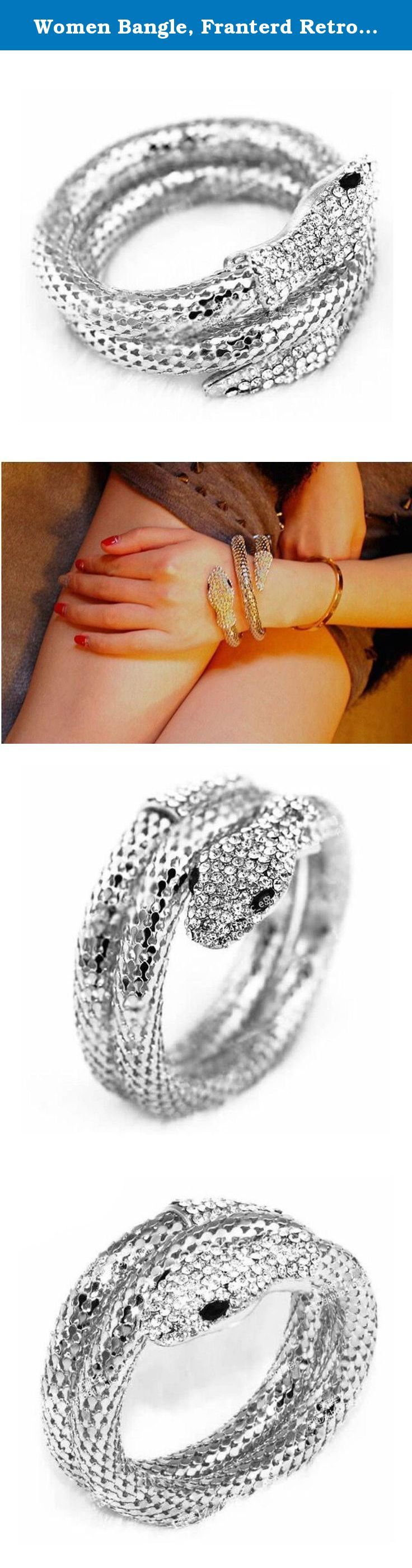 Women Bangle, Franterd Retro Punk Rhinestone Stretch Snake Cuff Bracelet. Feature: 100% brand new and high quality. Quantity: 1 Gender: Women, Girl Wonderful gift for you and your female friends Catch this beautiful accessories for you Package Content: 1X Vintage Retro Punk Rhinestone Curved Stretch Snake Cuff Bangle Bracelet (NO Retail Box. Packed Safely in Bubble Bag).