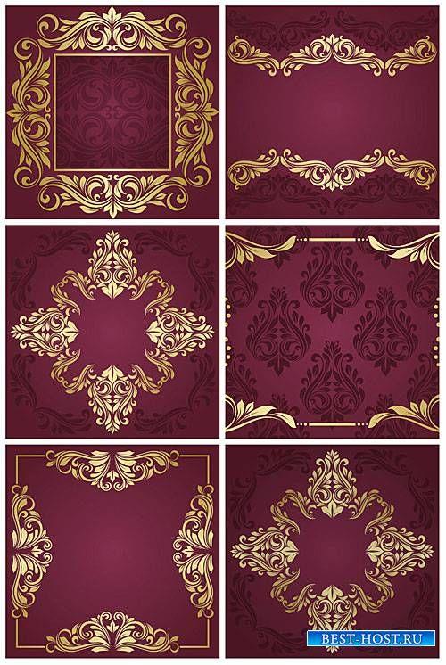 Винтажные бордовые фоны с золотыми узорами в векторе