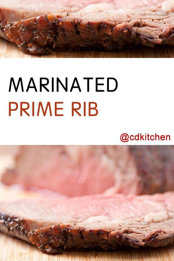 Marinated Prime Rib - Recipe is made with fresh rosemary, beef prime-rib roast, dry red wine, onion, lemon juice, Worcestershire sauce, dried rosemary, dried marjoram, garlic salt, water |  CDKitchen.com