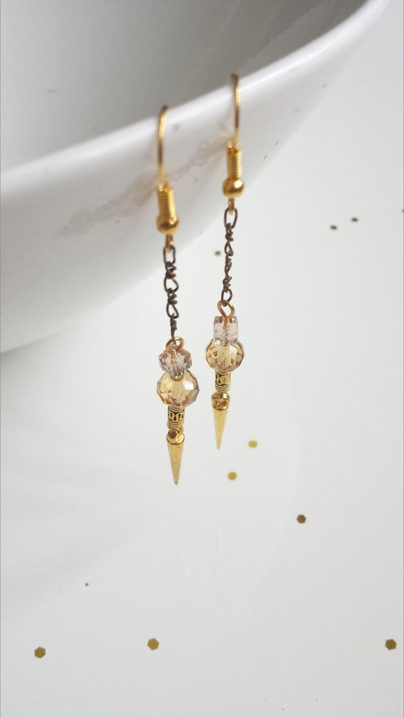 Gold Crystal Dangle Earrings Gold Filigree by ViewofBeauty on Etsy