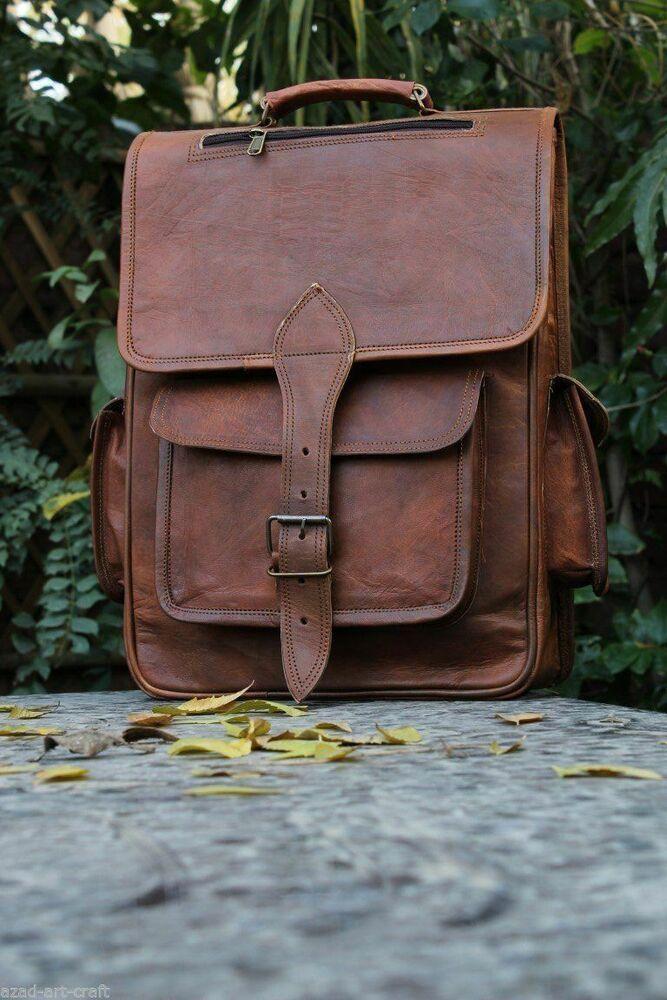 Men Backpack Waterproof Leather Laptop School Shoulder Bag Satchel Rucksack