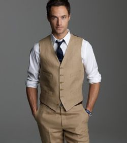 i dont want my groom to wear a jacket. just a vest. casual and classy ;)
