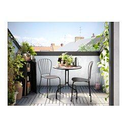 IKEA - LÄCKÖ, Table+2 chaises, extérieur, , Nettoyage facile - passer un chiffon humide.Le trou dans l'assise permet à l'eau de s'écouler.Les matériaux de ce meuble d'extérieur ne nécessitent aucun entretien.