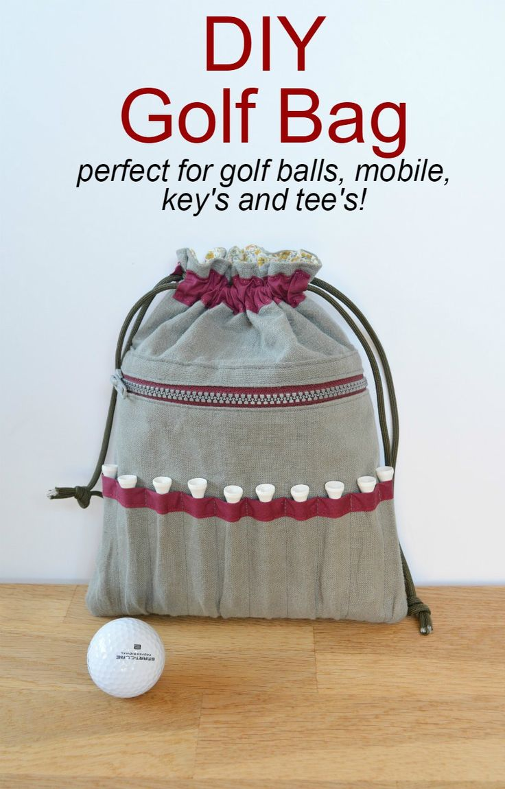 Drawstring Golf Bag... tutorial shows how to make with easy to access pockets for golf tees and a zippered pocket for personal items ~ Vicky Myers Creations