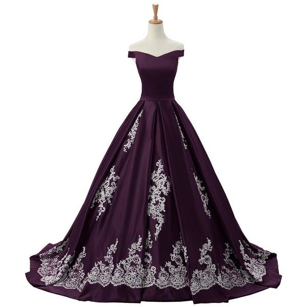 Sunvary 2016 Cap Sleeves Ball Gown Appliques Quinceanera Prom Dresses... ($220) ❤ liked on Polyvore featuring dresses, gowns, quinceanera prom dresses, applique dress, purple cap sleeve dress, reception gowns and purple evening dresses