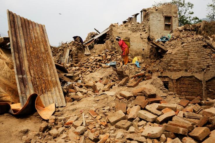Wreckage from Nepal's 2015 earthquakes nearly one year later in the ancient city of Sankhu, Nepal,  April 1, 2016.