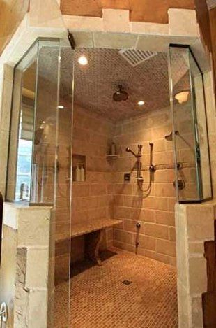 Amazing shower! This home is on the market and with a $650,000 down payment and a low interest rate your payment would only be about $ 12,000 a month.  One can always dream!