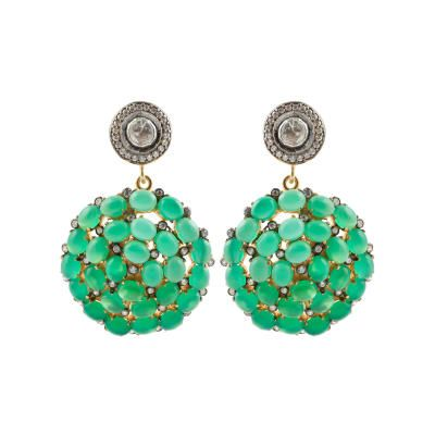 Kastur Jewels White Sapphire and Green Onyx Earrings