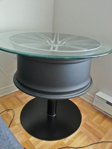 coffee table out of a car wheel car wheels wheels. Black Bedroom Furniture Sets. Home Design Ideas