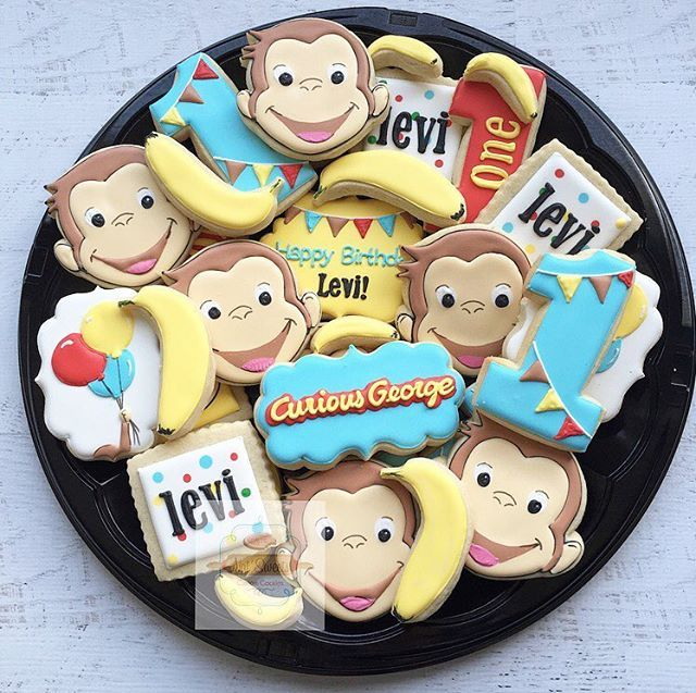 "632 Likes, 32 Comments - Natasha (@natsweets) on Instagram: ""Curious George platter  love these so much! Thanks to @cookiecutterkingdom we used there custom…"""