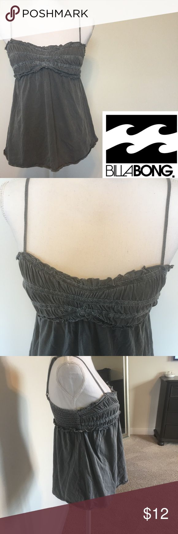 Billabong Distressed Grey Camisole Top This top features adjustable spaghetti straps and ruched embellishments bra top. Back is elasticized and logo on side. Sz M 100% Cotton. Billabong Tops Camisoles