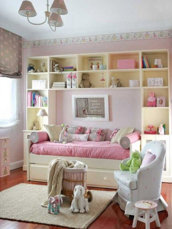 Love the idea of the bed turned length ways along wall with built in units around it  Cute Pink And White Girls Bedroom Design The Perfect Girly