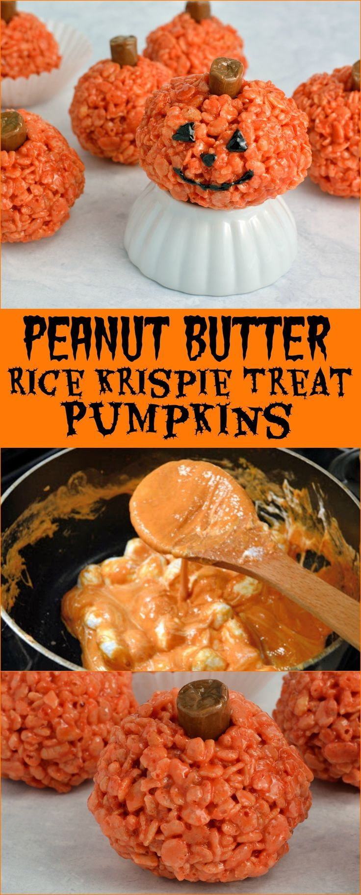 Peanut Butter Rice Krispie Treat Pumpkin Recipe is perfect for any fall gathering or cute Halloween treat. Ready in only 20 minutes, everyone will love them!