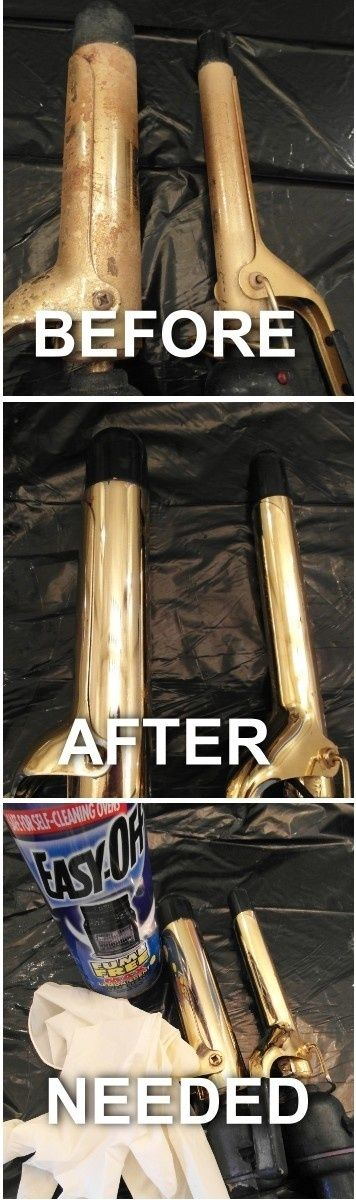 EASY, I promise! CLEAN YOUR CURLING IRON TO LOOK NEW. 1.) Cover area well with plastic (trash bag used here.) - to protect from chemical da...