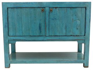 Lily Turquoise 2 Door Tall Sideboard with Bottom Shelf - contemporary - buffets and sideboards - los angeles - by Madera Home